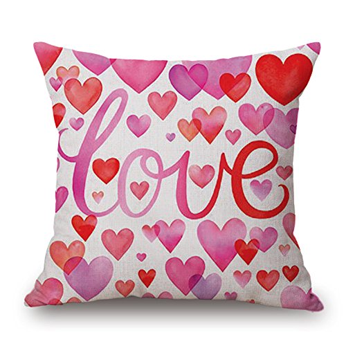 GOVOW Valentines Day Decorations Throw Pillow Case Sweet Love Square Cushion Cover on ()