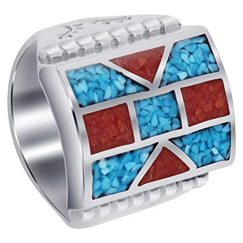 (Gem Avenue Mens 925 Sterling Silver Turquoise & Coral Inlay Mosaic Design Ring Size)