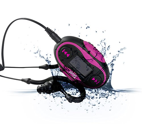Diver 4GB Waterproof MP3 Player with LCD Display and Earphones (Pink) (And Player Waterproof Radio Mp3)