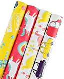 WRAPAHOLIC Gift Wrapping Paper Roll - Dinosaurs/Robot / Unicorn/Cars Cute Design for Birthday, Holiday, Baby Shower Gift Wrap - 4 Rolls - 30 inch X 120 inch per Roll