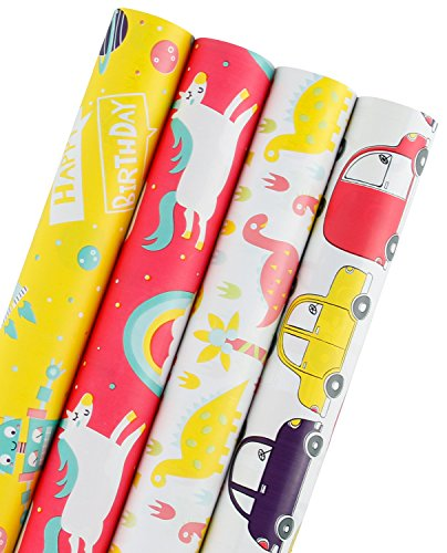 WRAPAHOLIC Gift Wrapping Paper Roll - Dinosaurs/Robot/Unicorn/Cars Cute Design for Birthday, Holiday, Baby Shower Gift Wrap - 4 Rolls - 30 inch X 120 inch Per Roll]()