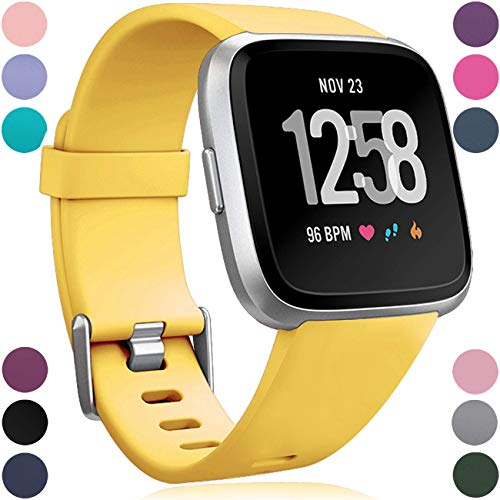 Wepro Bands Replacement Compatible with Fitbit Versa SmartWatch, Versa Lite SE Sports Watch Band Strap Wristband for Women Men Kids, Small, Mango Yellow -