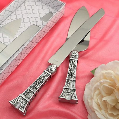 Gift Set Cakes - Love In Paris Eiffel Tower Design Cake Knife and Server Set