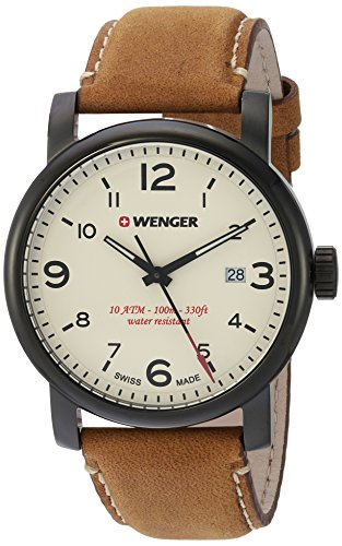 Wenger-Mens-Urban-Metropolitan-Swiss-Quartz-Stainless-Steel-and-Leather-Casual-Watch-ColorBrown-Model-011041134