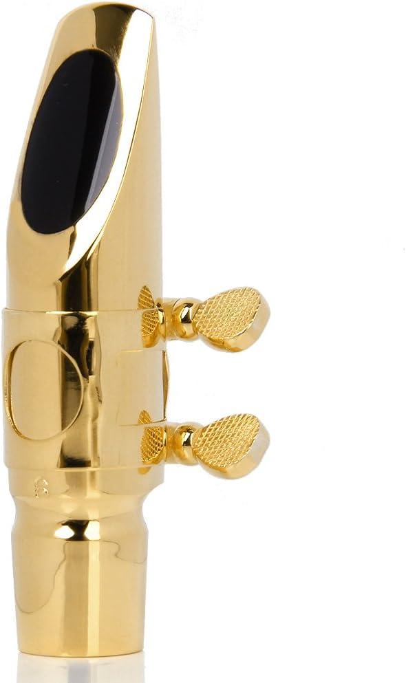 Alto Sax Saxophone Mouthpiece #6 with Cap and Ligature Golden