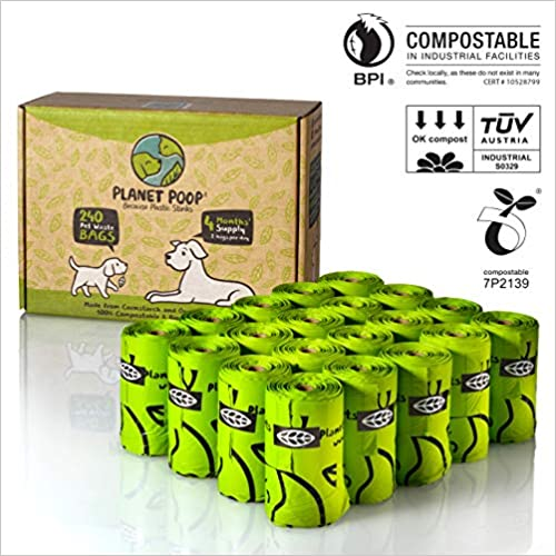 Planet Poop USA Certified Compostable Dog Poop Bags Extra Large 9  x 17  with Handles 240 Count Unscented. Earth Friendly Highest Rated D6400 Biodegradable Pet Waste Bag Leak Proof, 16 Refill Rolls