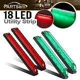 Partsam 8'' Boat LED Bow Lighting Red&Green Navigation Light Marine Led Utility Strip Bar