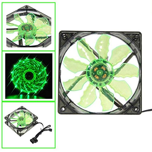 AMA(TM) Green 15 LED Light Silent DC 12V 4Pin PC Computer Case Cooling Fan Pad Tray Chilling Stand (Del Amo 15 Light)