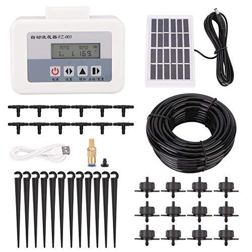 Famus Solar Intelligent Drip Water Irrigation System Auto Self Watering Plant Timer Set USB Charging(Solar Panel Set)