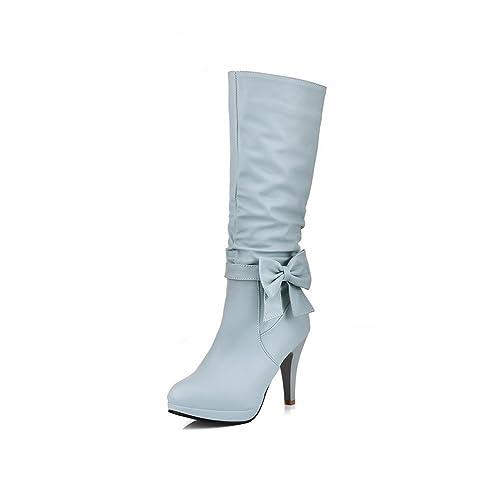 41834f0004736 AgooLar Mujer Puntera Cerrada Tacón Alto Caña Media Gamuza(Imitado) Botas   Amazon.es  Zapatos y complementos
