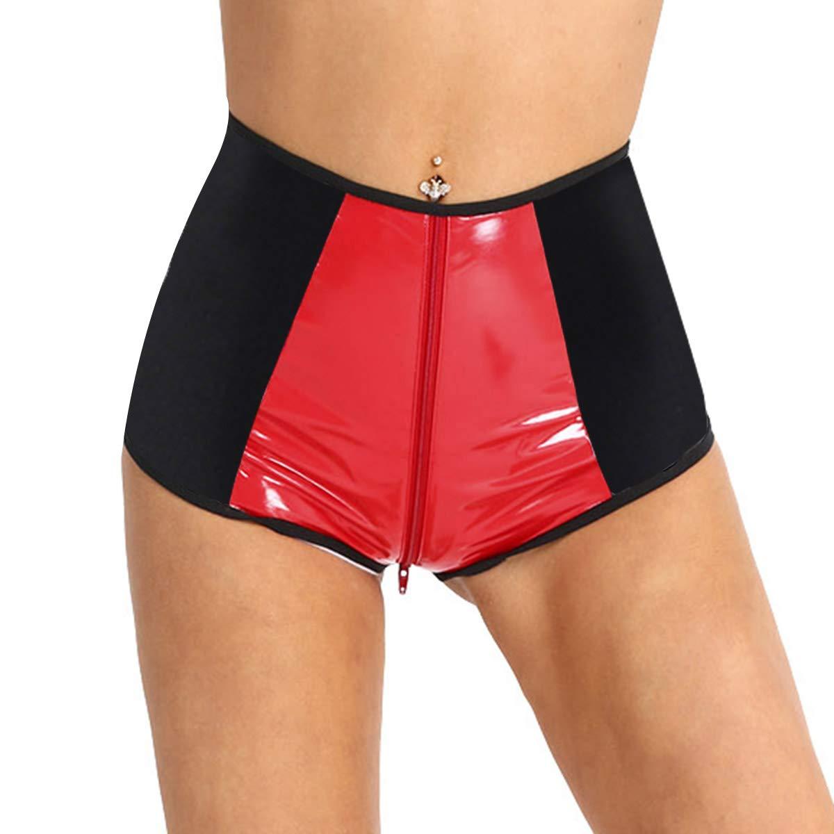 iiniim Women Wet Look Leather Hologram High Waisted Zipper Crotch Rave Booty Shorts Bottoms