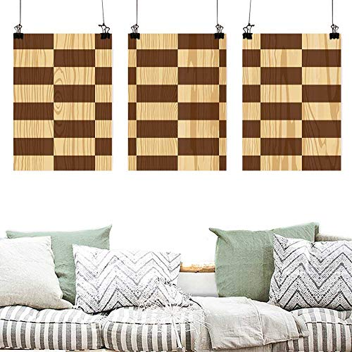 (Agoza Pattern Oil Painting Art Checkered Empty Checkerboard Wooden Seem Mosaic Texture Image Chess Game Hobby Theme Oil Canvas Painting Wall Art 3 Panels 16x31inchx3pcs Brown Light Brown)