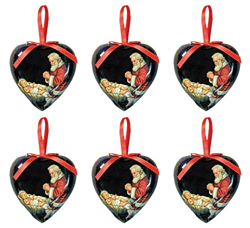 Adoring Santa Heart Shaped Christmas Decoupage Ornament, 3 Inches, Pack of 6 -