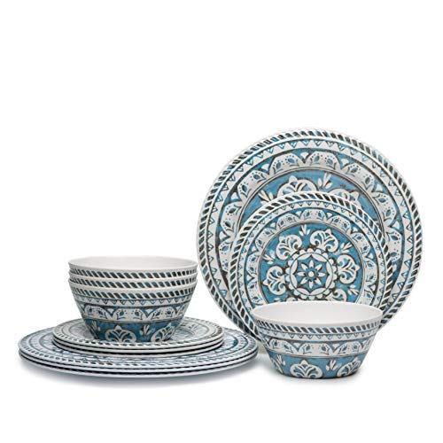 Hware 12 Pcs Melamine Break-Resistant Indoor Outdoor Dinnerware Set Service For 4 Round - Acrylic Dining Sets