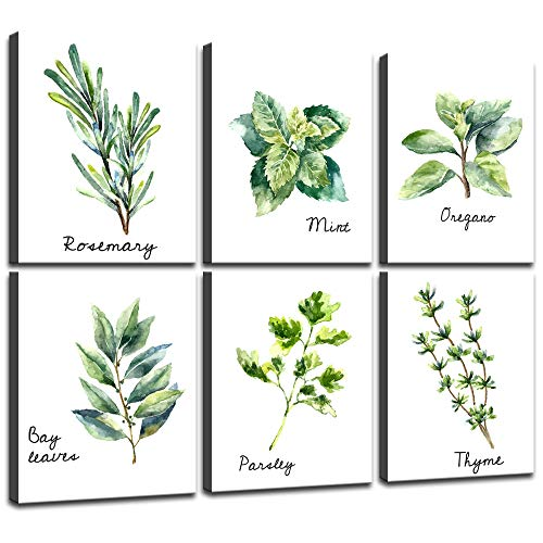 - Yasten Bridge Herbs Kitchen Wall Art Print Set of 6 Framed Prints Bay Leafes Thyme Mint Rosemary on Canvas Botanical Canvas Prints Wall Art for Home DéCor 8