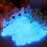 ANONAL Glow Stone Rocks Dark Pebbles for Walkways Décor, Outside Bulk Glow in the Dark Rocks for Outdoor Fairy Garden, luminous Stones for Driveway, Fish Tank Aquarium Glow Decorations Gravel 100pcs