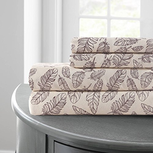 Amrapur Overseas | Printed 4-Piece Microfiber Sheet Set (Feather Sketch, Queen)