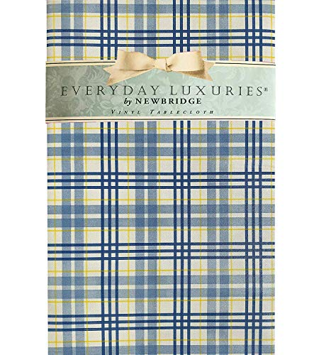 Newbridge Cabin Blue Lodge Plaid Vinyl Flannel Backed Tablecloth - Blue and Yellow Cottage Style Plaid Indoor/Outdoor Picnic, BBQ and Dining Tablecloth- 60
