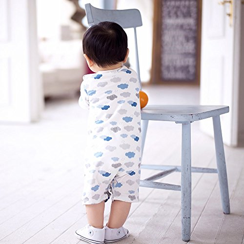 513c29da53401 Baby Nest 夏 ベビー服 半袖ロンパース 女の子 男の子 肩ボタン フルプリント コットン クラウド2 6