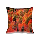 Popular Home Decoration Fall Mountain Red Pillow Cases Style Cool Custom Photo Diy Pillows Design - Fantasy Travel Pillow Cover