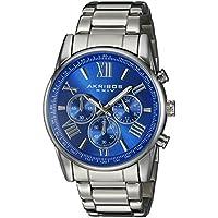 Akribos XXIV Men's AK865SSBU Silver-Tone Watch