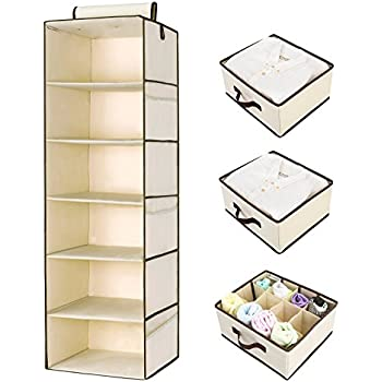 Delightful StorageWorks Hanging Closet Organizer, Foldable Closet Hanging Shelves With 2  Drawers U0026 1 Underwear Drawer
