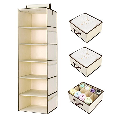 Hanging Closet Organizer, Foldable Closet Hanging Shelves with 2 Drawers & 1 Underwear Drawer By StorageWorks, Polyester Canvas, Natural, 6-Shelf, 13.6x12.2x42.5 inches (Natural 1 Drawer)