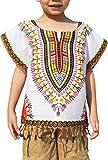Raan Pah Muang RaanPahMuang Bright Africa White Shirt Childs Dashiki Decorated with Tassels, 1-3 Years, White Yellow Red