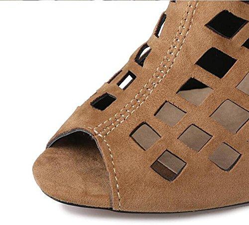 Beauqueen Suede bombas sobre rodilla botas altas Slouch Gladiator hueco pío-dedo del pie estilete sandalias de cremallera de verano de alto talón de tamaño personalizado de Europa 32-46 Red