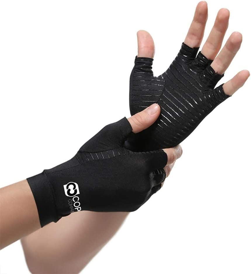 Copper Compression Arthritis Gloves - Guaranteed Highest Copper Content. Best Copper Glove for Carpal Tunnel, Computer Typing, and Everyday Support for Hands. Fit for Women and Men (1 Pair): Health & Personal Care