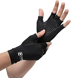 Copper Compression Arthritis Gloves - Guaranteed Highest Copper Content. Best Copper Glove for Carpal Tunnel, Computer Typing, and Everyday Support for Hands. Fit for Women and Men (1 Pair)