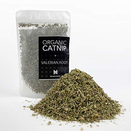 - munchiecat Organic Catnip with Valerian Root Blend, USA Grown, Leaf and Flower Premium Cat Nip (1 Cup)