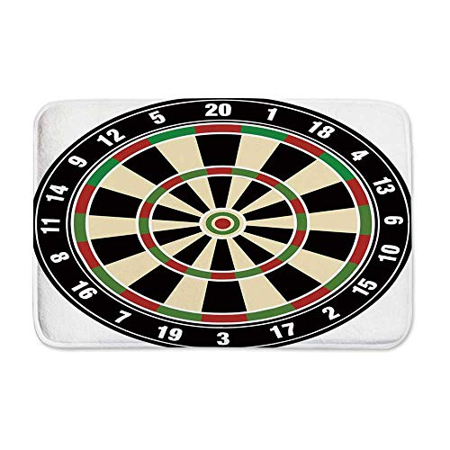 YOLIYANA Sports Entrance Door Mat,Dart Board Numbers Sports Accuracy Precision Target Leisure Time Graphic for Entryway,23