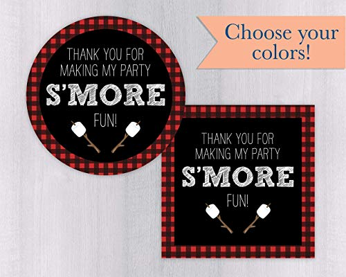 Thank You For Making My Party S'MORE Fun Birthday Stickers, S'more Party Favor Stickers, Camp Birthday Party Thank You Stickers (#438-1-WH)