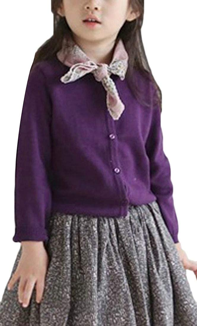 Cromoncent Girl Pure Color Casual Open Front Button-Down Knitwear Sweater Cardigan