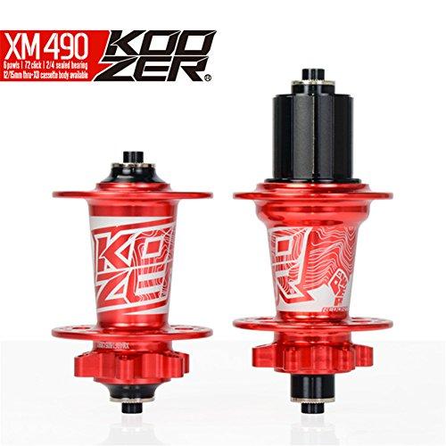 Mountain Bike Hubs (Cyrusher Koozer HA02N/HA04N CNC Mountain Bike Hub set 2/4 Bearings MTB 32 Holes Front & Rear (Red))