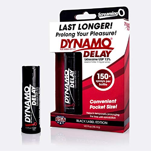 Screaming O Dynamo Delay Black Series 0.5 fl oz with Free Bottle of Adult Toy Cleaner -