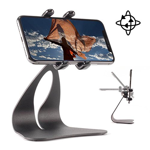 Thought Out PED5-GRAND-H Stand Rotate Holder Made in USA Compatible with Apple iPhone Xs, Xs Max, Xr (X, 8, 7, 6s, 6, SE, 5s, 5c, 5, All Plus Sizes and Handheld Devices from 2.3 to 3.5 inches Wide)