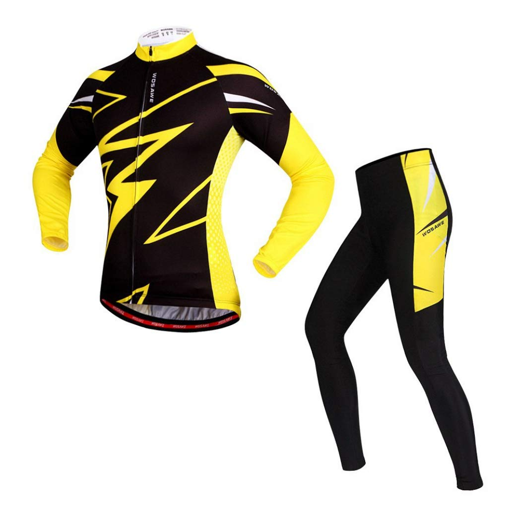 Black With Yellow Rzxkad Autumn Cycling Set Breathable Cycling Jerseys Thin Long Sleeves Bike Clothing Suit 4D Gel Pad Sports Suits