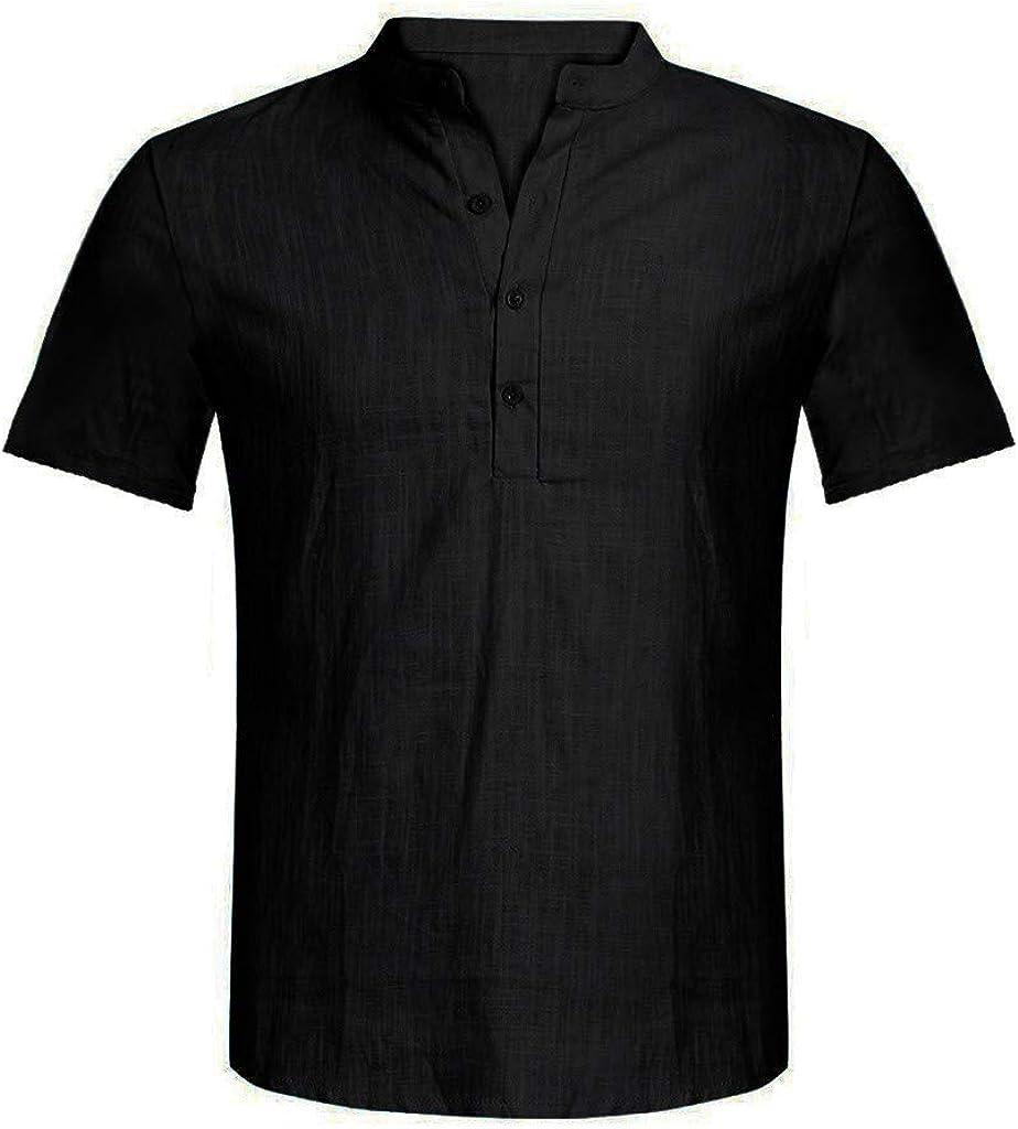 Holzkary Mens Big /& Tall Short-Sleeve Shirt Casual Solid Color Button Down T-Shirts Henley Shirts Tee