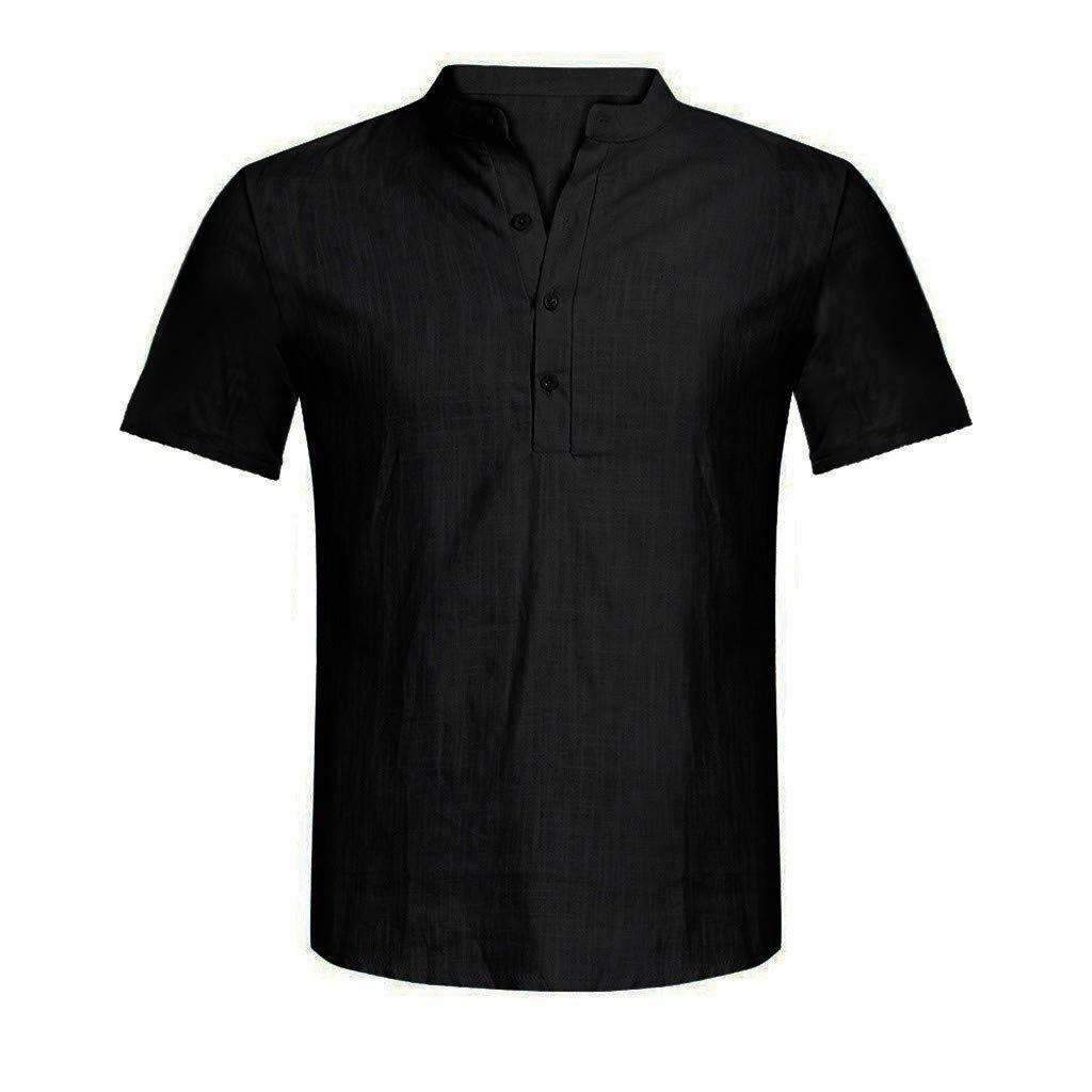 JIUDASG Men Casual Blouse Cotton Linen T-Shirt Loose Tops Short Sleeve Tee Shirt