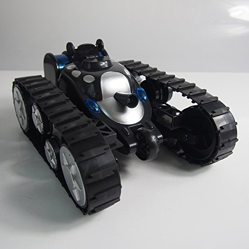 A-Parts Rover Space Rc Tank Remote Control Toy Stunt Car With Cool Led Lights 360° Flip Color Black
