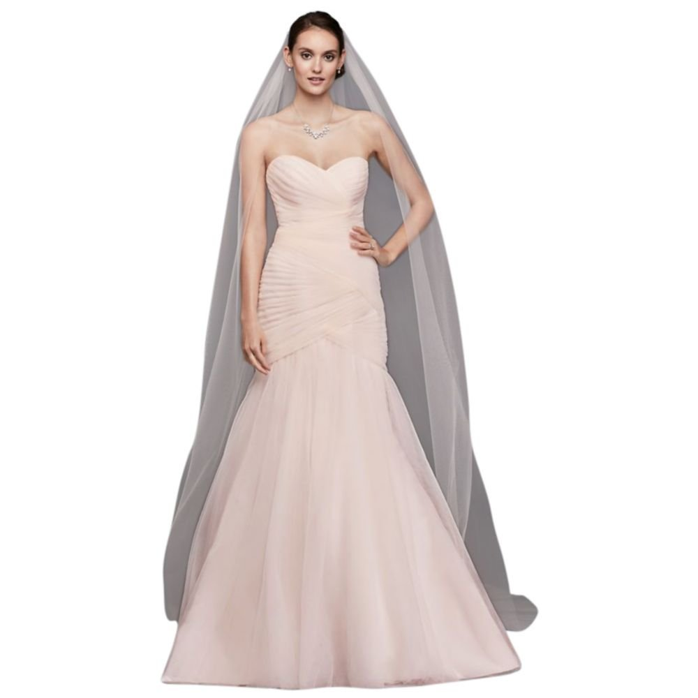 Single-Tier Raw Edge 144-Inch Cathedral Veil Style V703C, Whisper Pink
