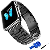 Apple Watch Band, Solid Stainless Steel Metal Unique Polishing Replacement with Durable Folding Clasp + Connector Adaptor + WatchBand Size Remover Adjuster (42mm Space Gray)