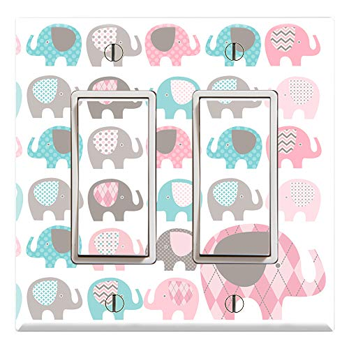 (Graphics Wallplates - Elephant - Dual Rocker/GFCI Outlet Wall Plate Cover)