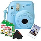 Fujifilm Instax Mini 8 Instant Film Camera (Blue) + (2) Fujifilm INSTAX Mini Instant Film (Twin Pack) + PixiBytes Exclusive Cleaning Cloth
