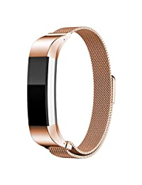 Watch Band, ABC Luxury Milanese Magnetic Loop Stainless Steel Bands Strap Bracelet for Fitbit Alta Smart Watch (Rose Gold)