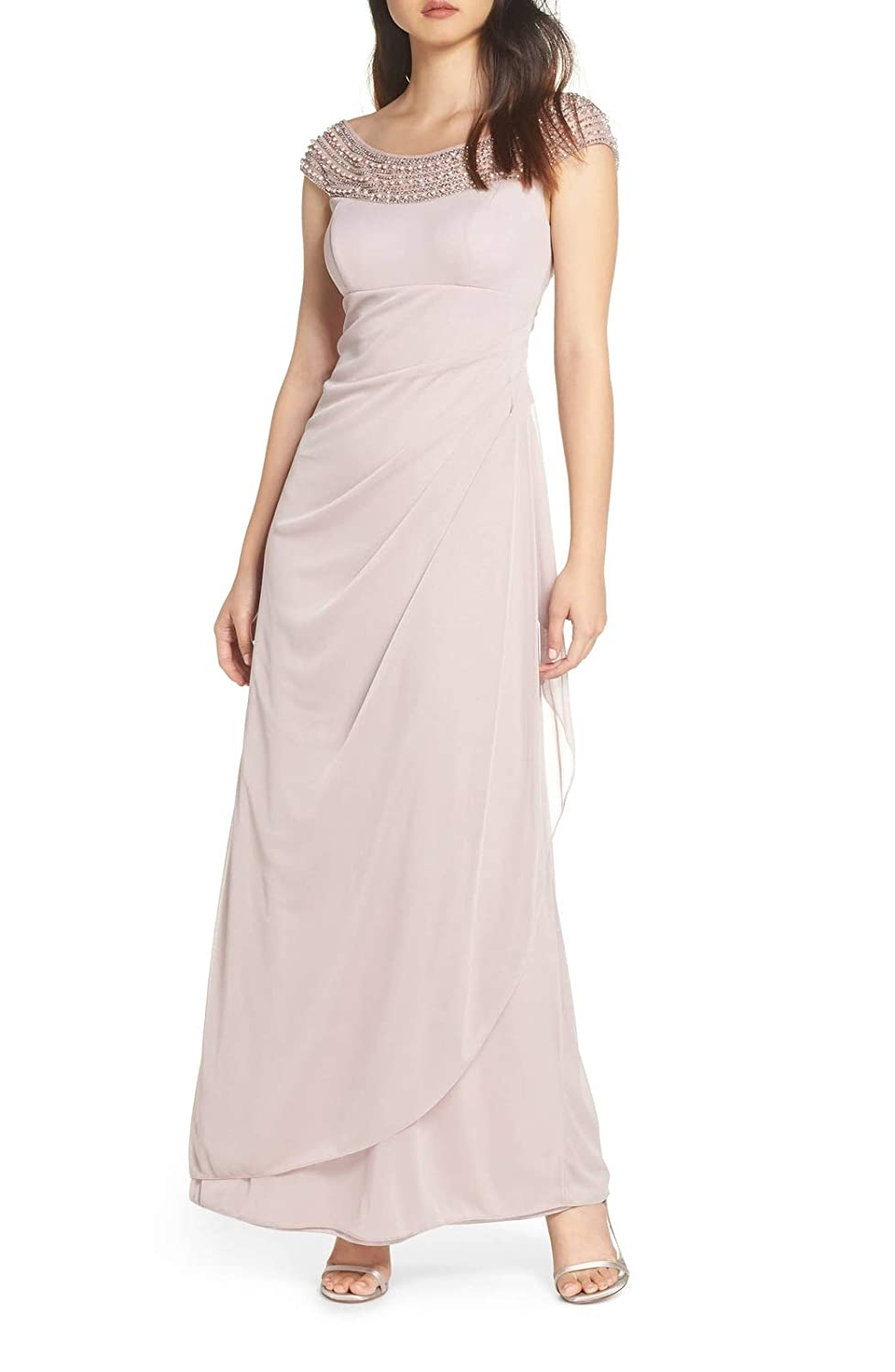Pink Aisahnglina Women's Stunning Pears Beaded Neckline Embellished Evening Gown Cocktail Party Night Dress Plus Size