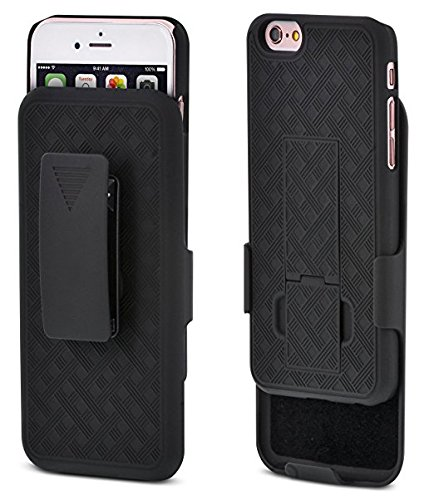 Rubberized Case Clip (Microseven BLACK WAVE RUBBERIZED HARD CASE COVER WITH KICKSTAND + BELT CLIP HOLSTER FOR iPhone 6 /6S 4.7 inch with Microseven Packaging (iPhone 6/6S Black Wave Holster))