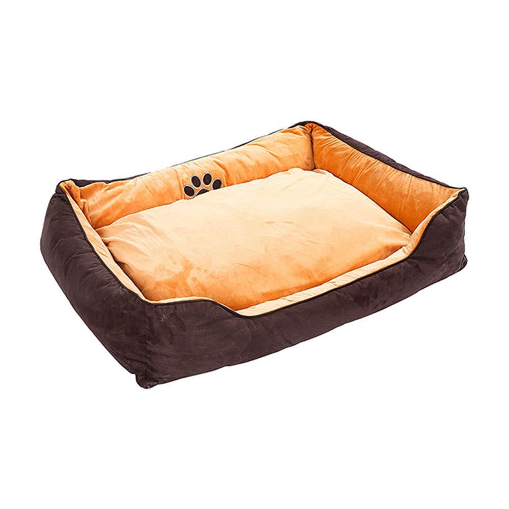 Brown Large Brown Large Pet nest Solid color short plush PP cotton mattress Suitable for dogs, cats, etc. Pet nest (color   BROWN, Size   L)